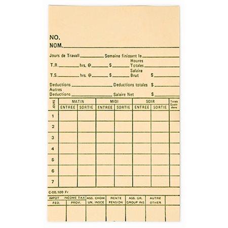 CARTE TEMPS 3 3 / 8X5.5'' BTE 1000