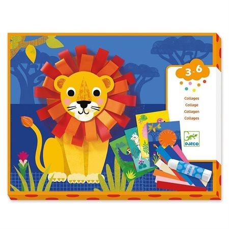 Collages avec petites boucles de papiers: animaux