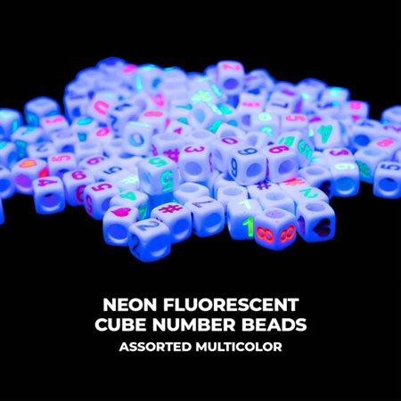 Perles chiffres fluorescentes néon 125pc