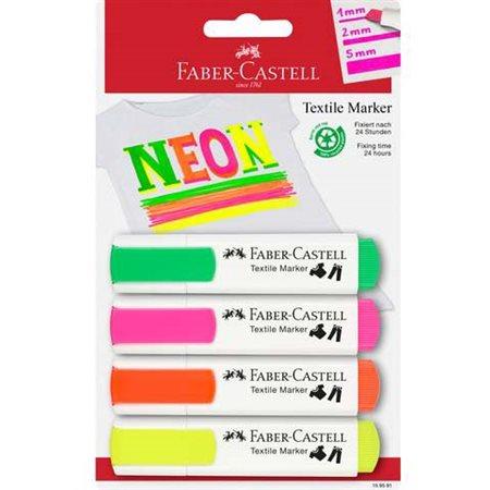 Marqueurs textile Néons Paquet de 4