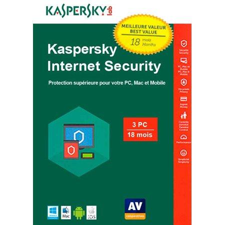 Kaspersky 2020 Internet Security 3 PC pour 18 mois