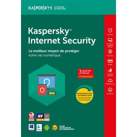 Internet sécurité Kaspersky 3 PC pour 1 an