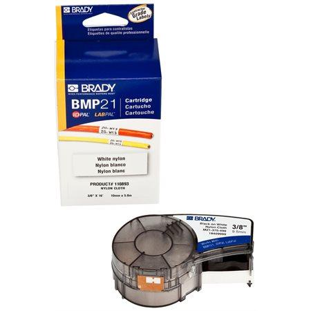 Cartouche étiquette Brady 1 / 2'' x 16', nylon, noir sur blanc