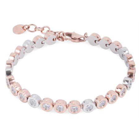Bracelet bulles CZ acier inox rose