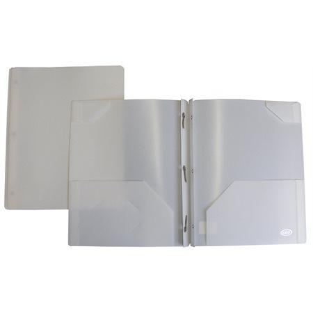 Portfolios de plastique avec attaches et pochettes, blanc